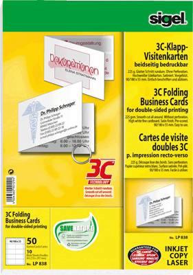 Sigel Klapp Visitenkarten 3c Lp838 Glatter Schnitt 85 X 55
